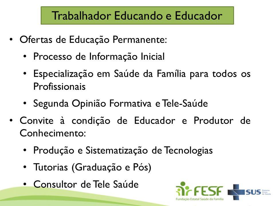 Ofertas de Educação Permanente: Processo de Informação Inicial Especialização em Saúde da Família para todos os Profissionais Segunda Opinião Formativ