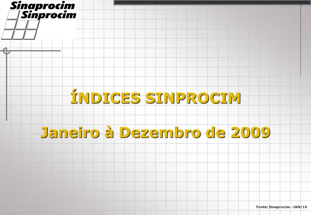 ÍNDICES SINPROCIM Janeiro à Dezembro de 2009 Fonte: Sinaprocim –JAN/10 1