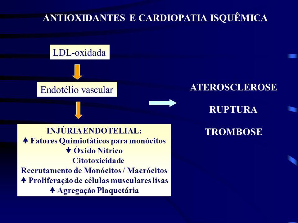 ANTIOXIDANTES X DOENÇA CARDIOVASCULAR X CÂNCER EVIDÊNCIAS CIENTÍFICAS 1.