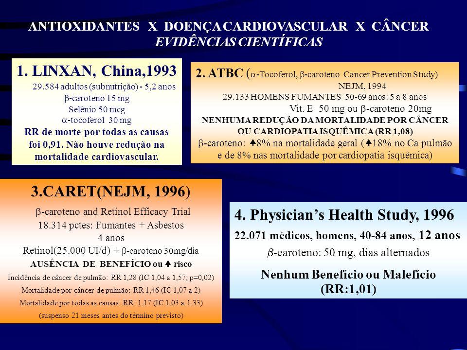 VITAMINA E ATBC ( -Tocoferol, -caroteno Cancer Prevention Study) Prevenção Secundária com vitamina E 50 mg O RISCO DE IAM NÃO-FATAL FOI REDUZIDO EM 38%.NÃO HOUVE REDUÇÃO DOS EVENTOS FATAIS.