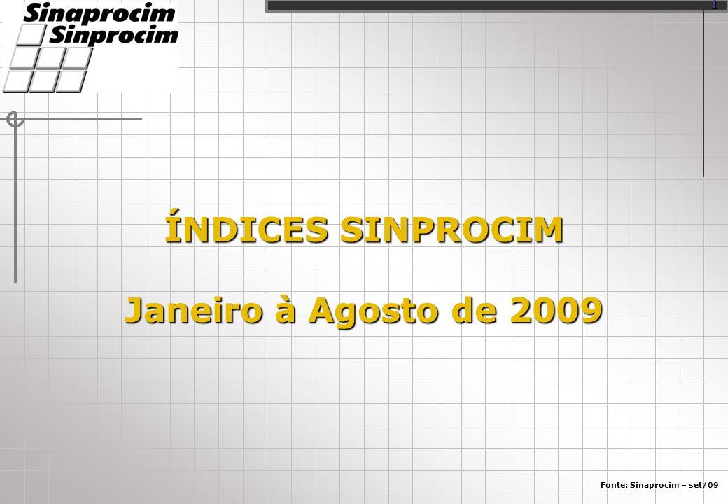 ÍNDICES SINPROCIM Janeiro à Agosto de 2009 Fonte: Sinaprocim – set/09 1