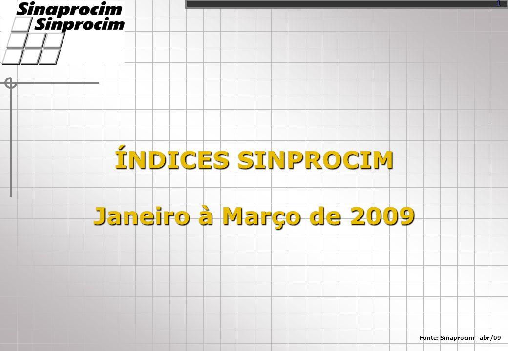 ÍNDICES SINPROCIM Janeiro à Março de 2009 Fonte: Sinaprocim –abr/09 1