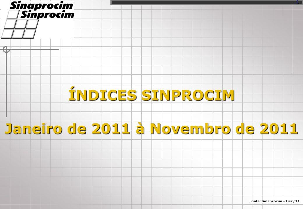 ÍNDICES SINPROCIM Janeiro de 2011 à Novembro de 2011 Fonte: Sinaprocim – Dez/11 1