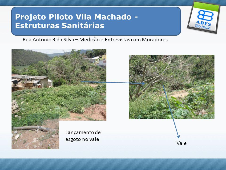 Rua Antonio R da Silva – Medição e Entrevistas com Moradores Projeto Piloto Vila Machado - Estruturas Sanitárias Vale Lançamento de esgoto no vale