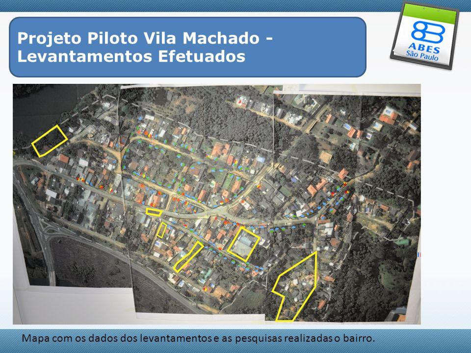 Projeto Piloto Vila Machado - Levantamentos Efetuados Mapa com os dados dos levantamentos e as pesquisas realizadas o bairro.