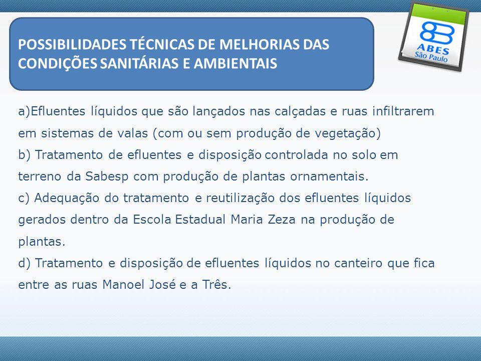 POSSIBILIDADES TÉCNICAS DE MELHORIAS DAS CONDIÇÕES SANITÁRIAS E AMBIENTAIS a)Efluentes líquidos que são lançados nas calçadas e ruas infiltrarem em si