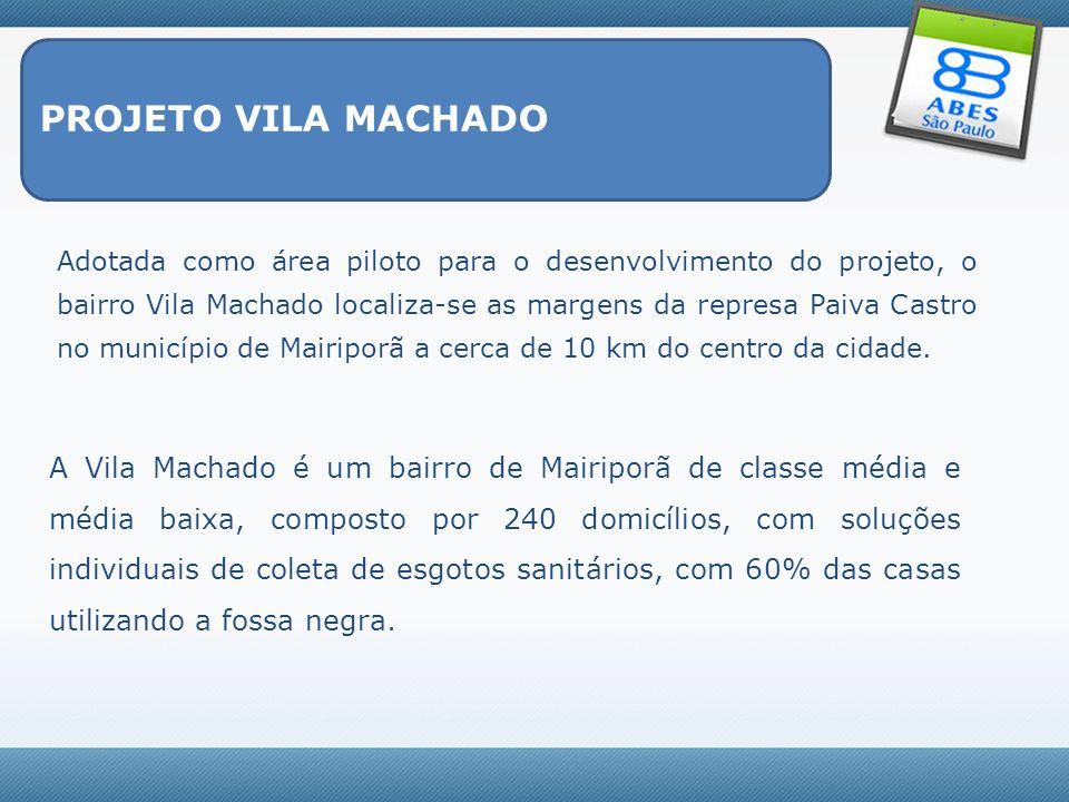 PROJETO VILA MACHADO Adotada como área piloto para o desenvolvimento do projeto, o bairro Vila Machado localiza-se as margens da represa Paiva Castro