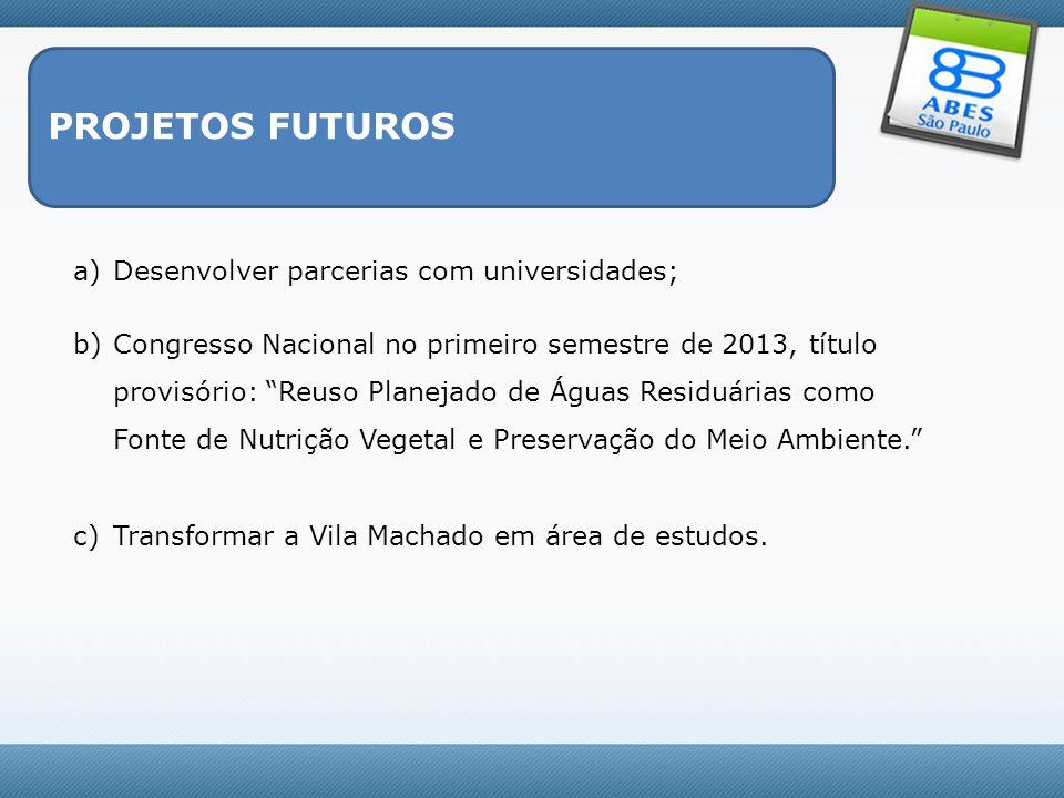 PROJETOS FUTUROS a)Desenvolver parcerias com universidades; b)Congresso Nacional no primeiro semestre de 2013, título provisório: Reuso Planejado de Á