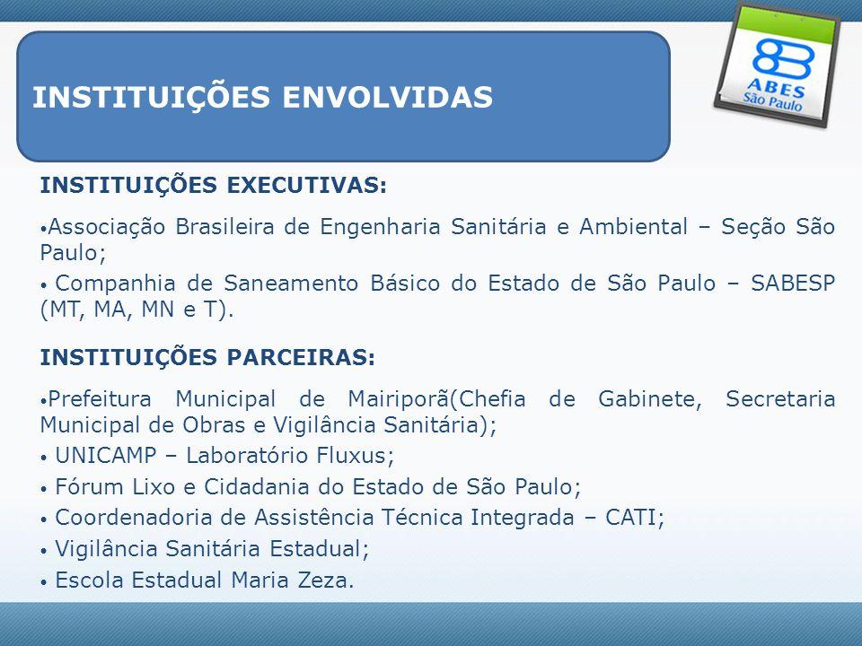 INSTITUIÇÕES ENVOLVIDAS INSTITUIÇÕES EXECUTIVAS: Associação Brasileira de Engenharia Sanitária e Ambiental – Seção São Paulo; Companhia de Saneamento