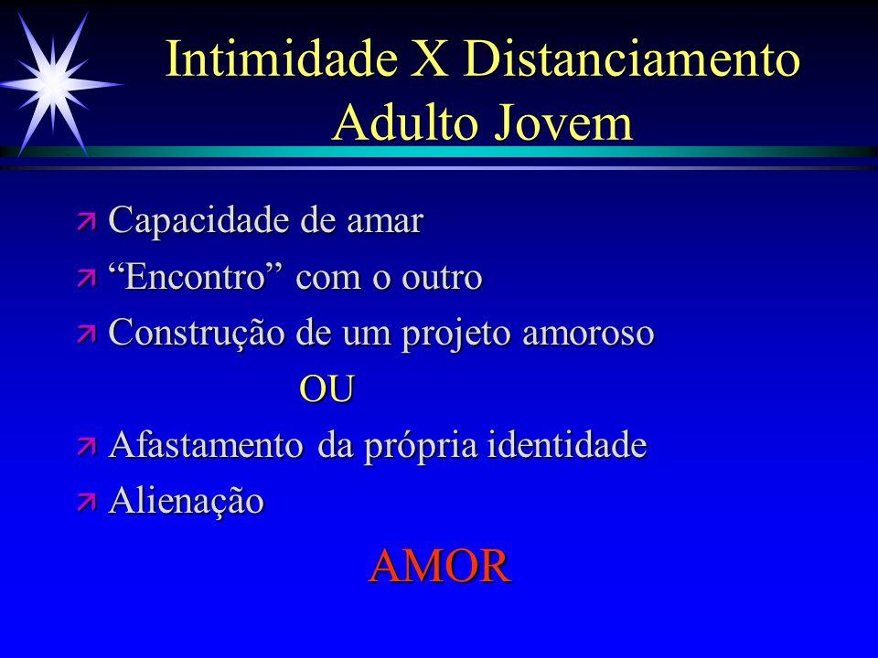 Intimidade X Distanciamento Adulto Jovem ä Capacidade de amar ä Encontro com o outro ä Construção de um projeto amoroso OU OU ä Afastamento da própria