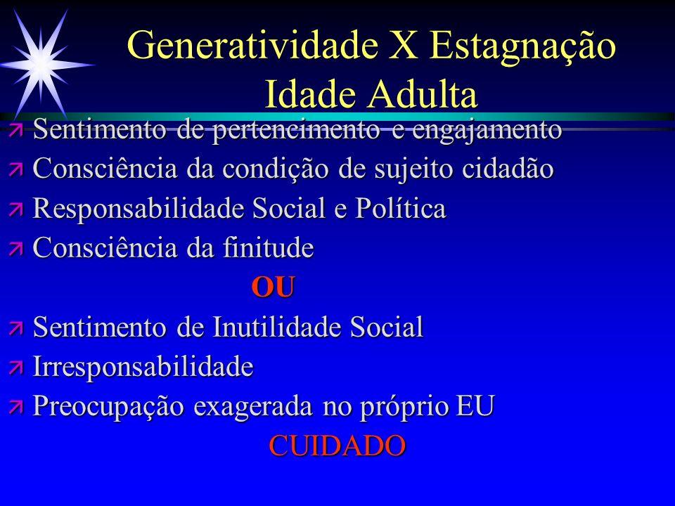 Generatividade X Estagnação Idade Adulta ä Sentimento de pertencimento e engajamento ä Consciência da condição de sujeito cidadão ä Responsabilidade S