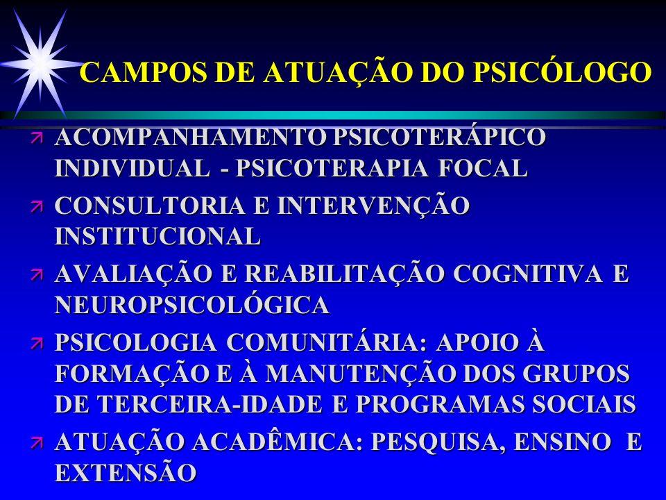 CAMPOS DE ATUAÇÃO DO PSICÓLOGO ä ACOMPANHAMENTO PSICOTERÁPICO INDIVIDUAL - PSICOTERAPIA FOCAL ä CONSULTORIA E INTERVENÇÃO INSTITUCIONAL ä AVALIAÇÃO E