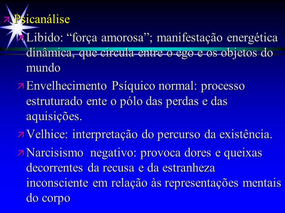 ä Psicanálise ä Libido: força amorosa; manifestação energética dinâmica, que circula entre o ego e os objetos do mundo ä Envelhecimento Psíquico norma