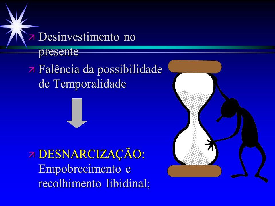 ä Desinvestimento no presente ä Falência da possibilidade de Temporalidade ä DESNARCIZAÇÃO: Empobrecimento e recolhimento libidinal ;