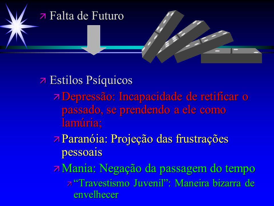 ä Falta de Futuro ä Estilos Psíquicos ä Depressão: Incapacidade de retificar o passado, se prendendo a ele como lamúria; ä Paranóia: Projeção das frus