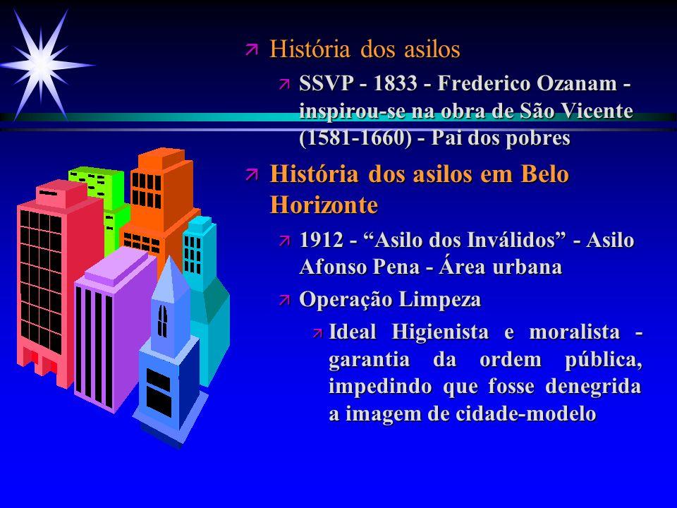 ä História dos asilos ä SSVP - 1833 - Frederico Ozanam - inspirou-se na obra de São Vicente (1581-1660) - Pai dos pobres ä História dos asilos em Belo