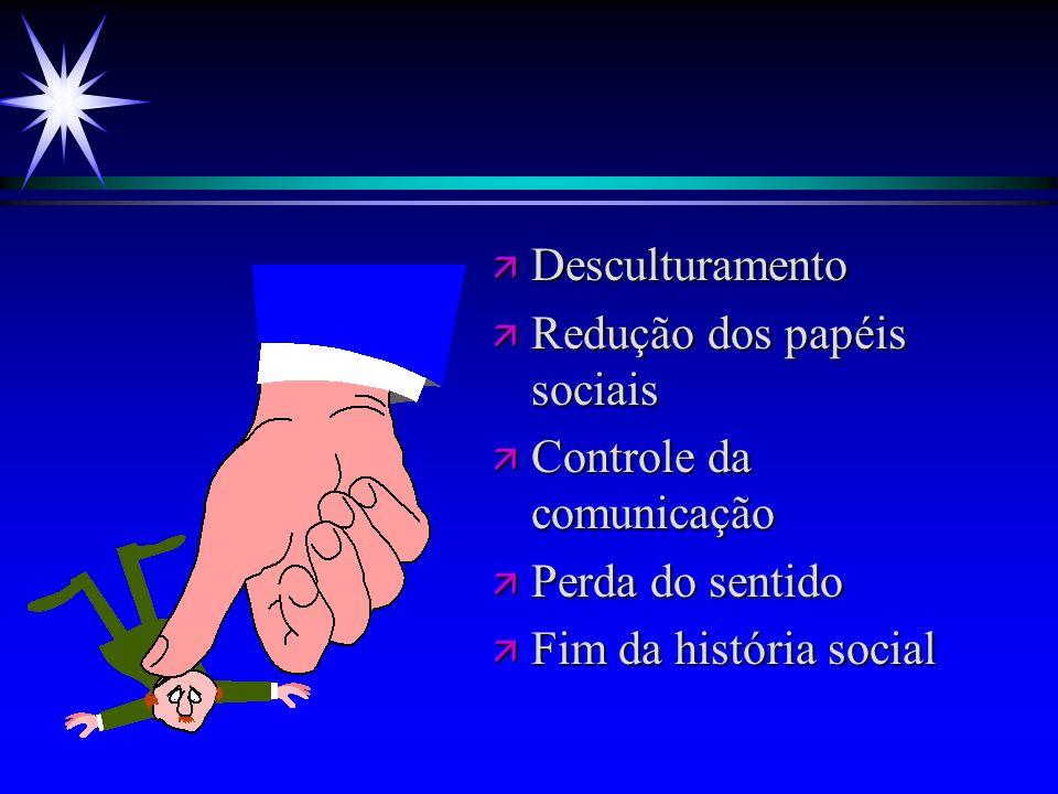 ä Desculturamento ä Redução dos papéis sociais ä Controle da comunicação ä Perda do sentido ä Fim da história social