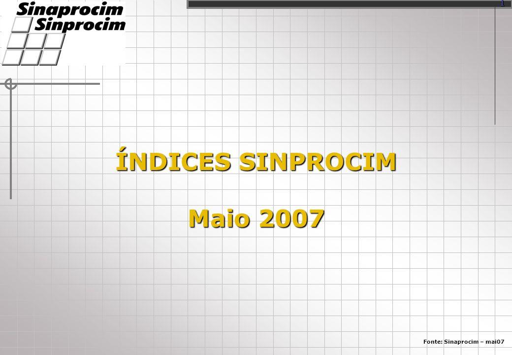 ÍNDICES SINPROCIM Maio 2007 Fonte: Sinaprocim – mai07 1