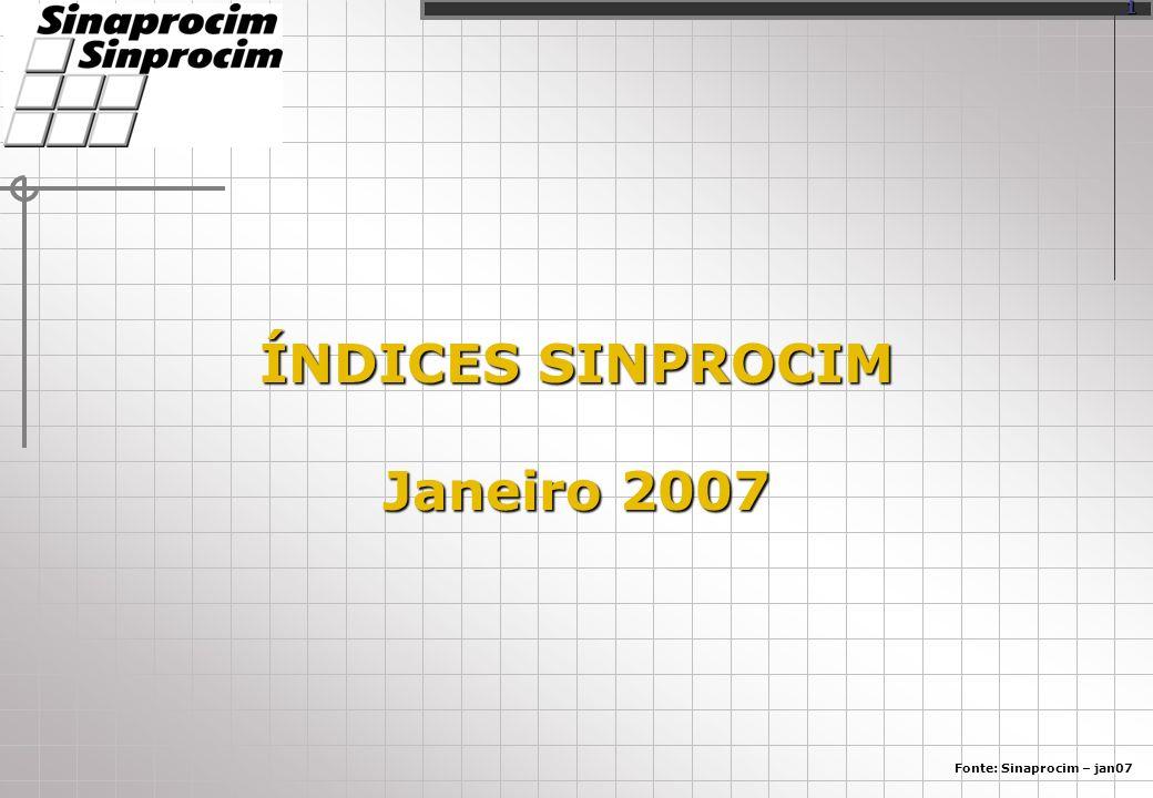 ÍNDICES SINPROCIM Janeiro 2007 Fonte: Sinaprocim – jan07 1