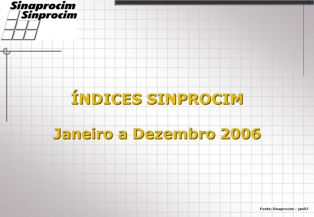 ÍNDICES SINPROCIM Janeiro a Dezembro 2006 Fonte: Sinaprocim – jan07 1