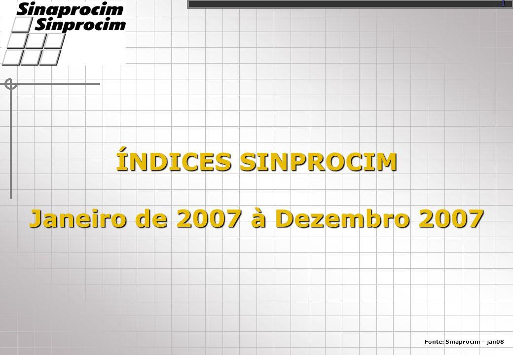 ÍNDICES SINPROCIM Janeiro de 2007 à Dezembro 2007 Fonte: Sinaprocim – jan08 1