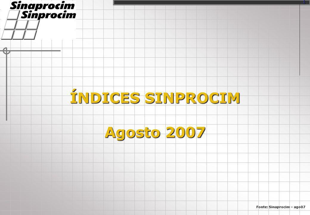 ÍNDICES SINPROCIM Agosto 2007 Fonte: Sinaprocim – ago07 1