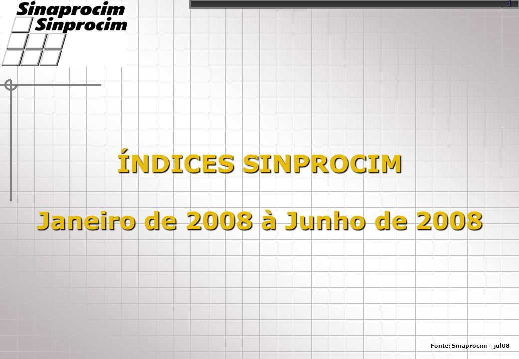 ÍNDICES SINPROCIM Janeiro de 2008 à Junho de 2008 Fonte: Sinaprocim – jul08 1
