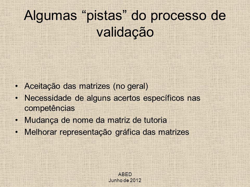 ABED Junho de 2012 Algumas pistas do processo de validação Aceitação das matrizes (no geral) Necessidade de alguns acertos específicos nas competência