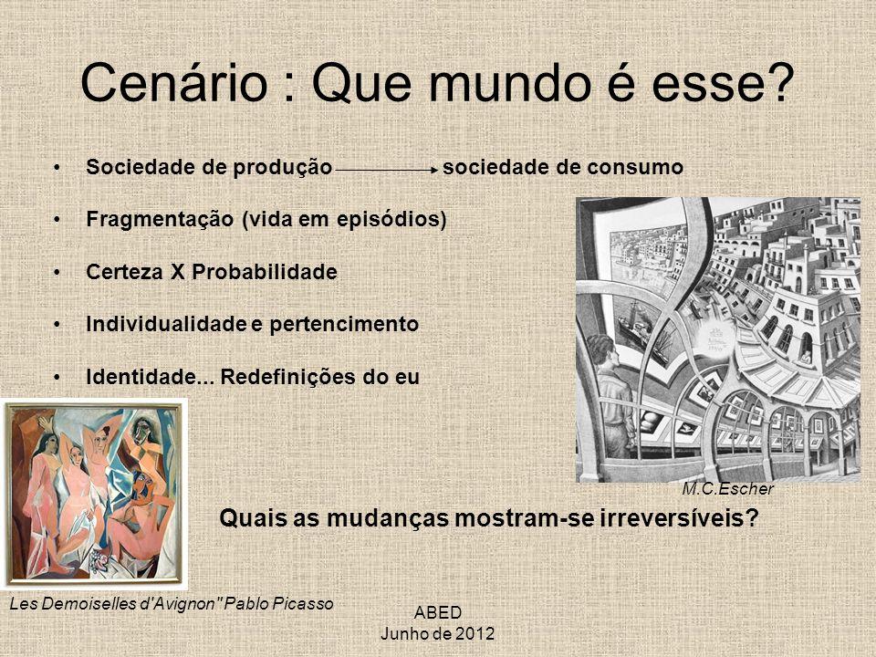 ABED Junho de 2012 Cenário : Que mundo é esse? Sociedade de produção sociedade de consumo Fragmentação (vida em episódios) Certeza X Probabilidade Ind