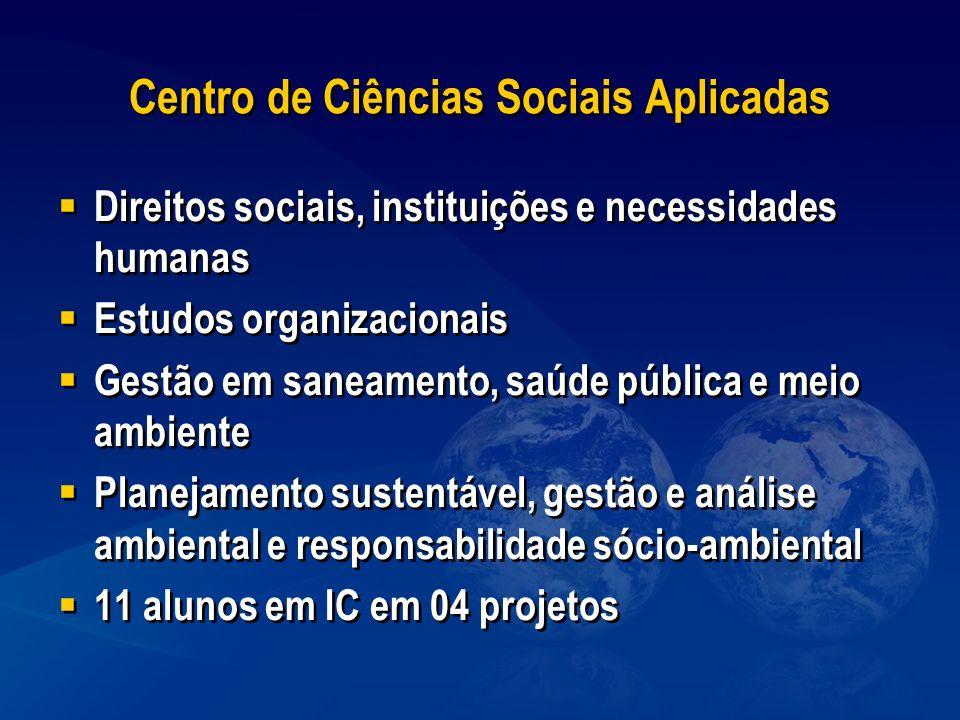 Centro de Ciências Sociais Aplicadas Direitos sociais, instituições e necessidades humanas Estudos organizacionais Gestão em saneamento, saúde pública