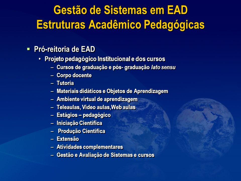 Gestão de Sistemas em EAD Estruturas Acadêmico Pedagógicas Pró-reitoria de EAD Projeto pedagógico Institucional e dos cursos – Cursos de graduação e p