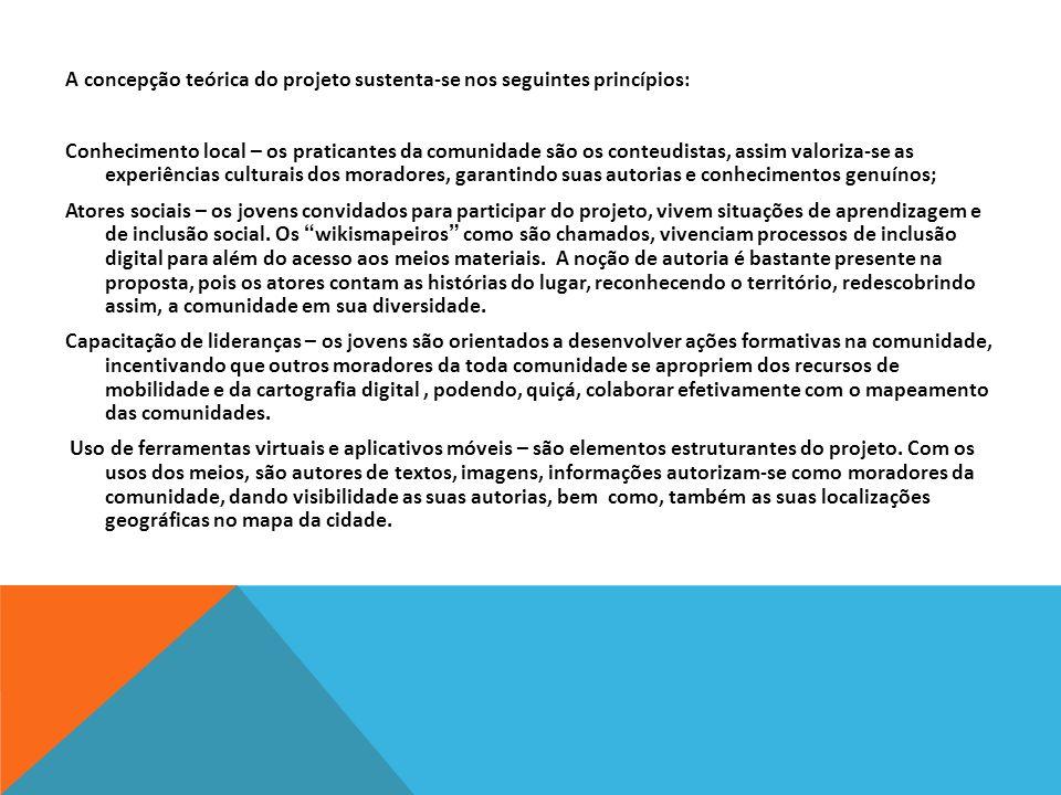 A concepção teórica do projeto sustenta-se nos seguintes princípios: Conhecimento local – os praticantes da comunidade são os conteudistas, assim valo