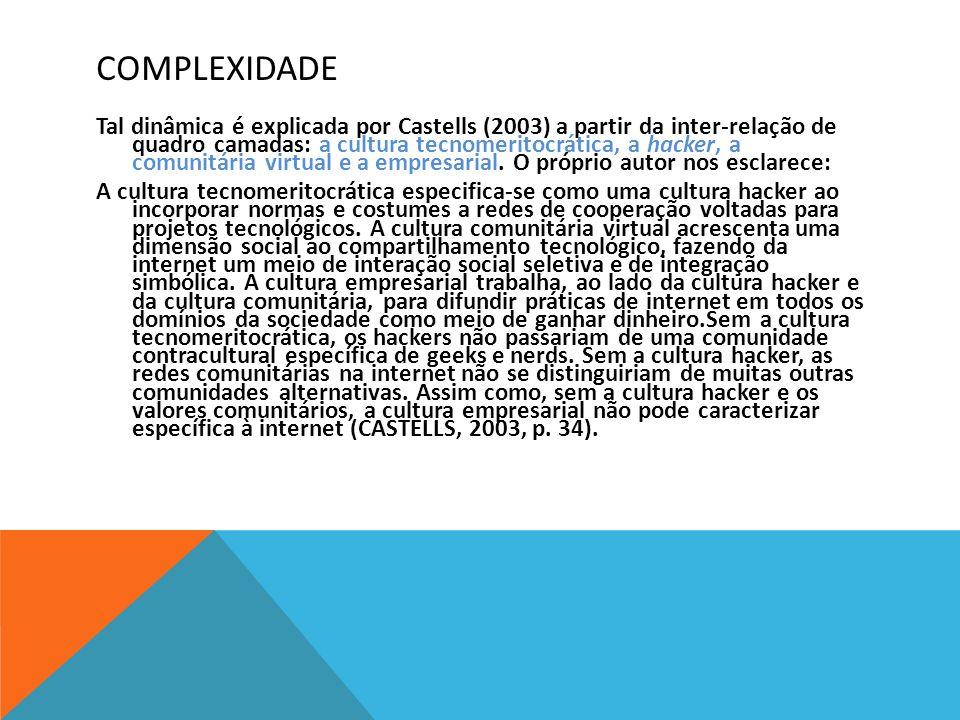 COMPLEXIDADE Tal dinâmica é explicada por Castells (2003) a partir da inter-relação de quadro camadas: a cultura tecnomeritocrática, a hacker, a comun