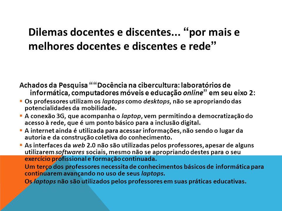 Dilemas docentes e discentes... por mais e melhores docentes e discentes e rede Achados da Pesquisa Docência na cibercultura: laboratórios de informát