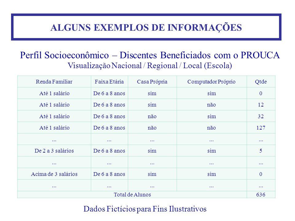 ALGUNS EXEMPLOS DE INFORMAÇÕES Dados Fictícios para Fins Ilustrativos Perfil Socioeconômico – Discentes Beneficiados com o PROUCA Visualização Naciona