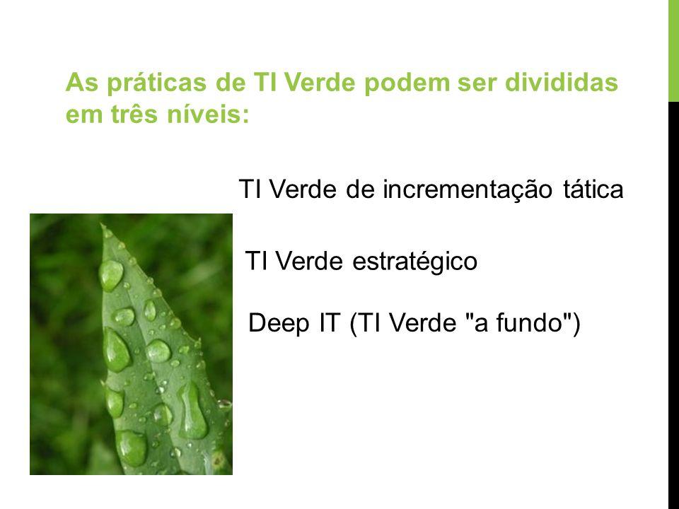 As práticas de TI Verde podem ser divididas em três níveis: TI Verde de incrementação tática TI Verde estratégico Deep IT (TI Verde