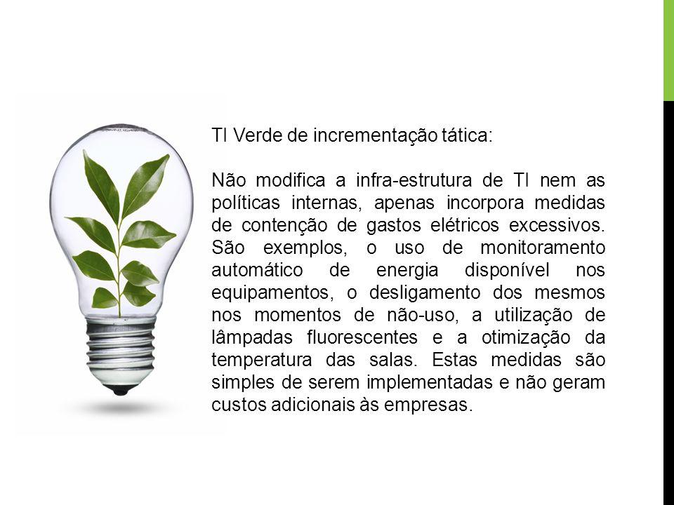 TI Verde de incrementação tática: Não modifica a infra-estrutura de TI nem as políticas internas, apenas incorpora medidas de contenção de gastos elét