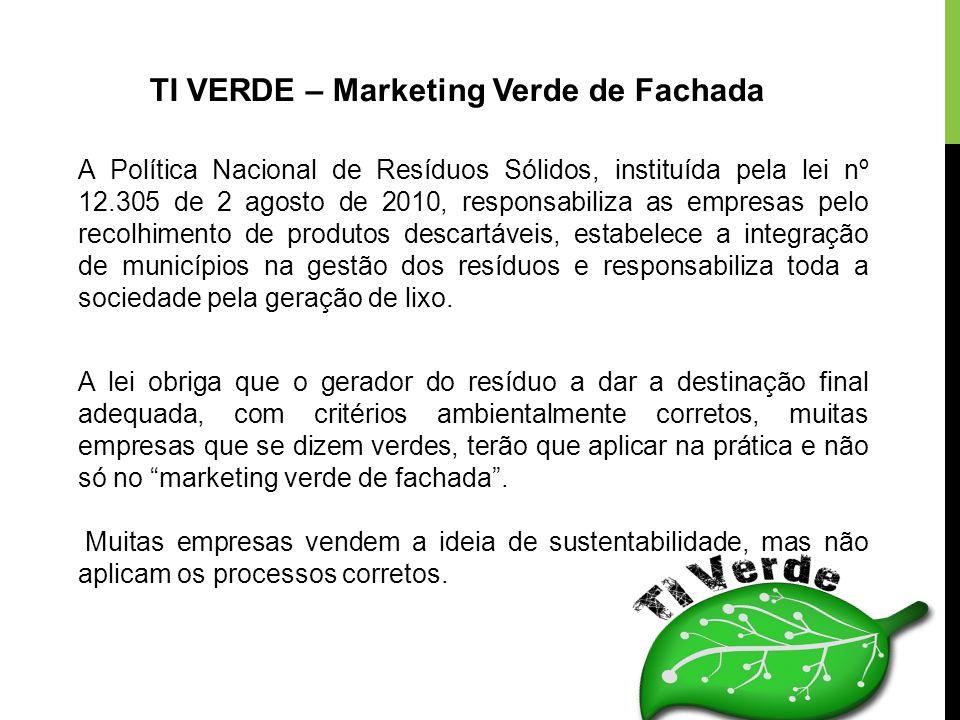 TI VERDE – Marketing Verde de Fachada A lei obriga que o gerador do resíduo a dar a destinação final adequada, com critérios ambientalmente corretos,