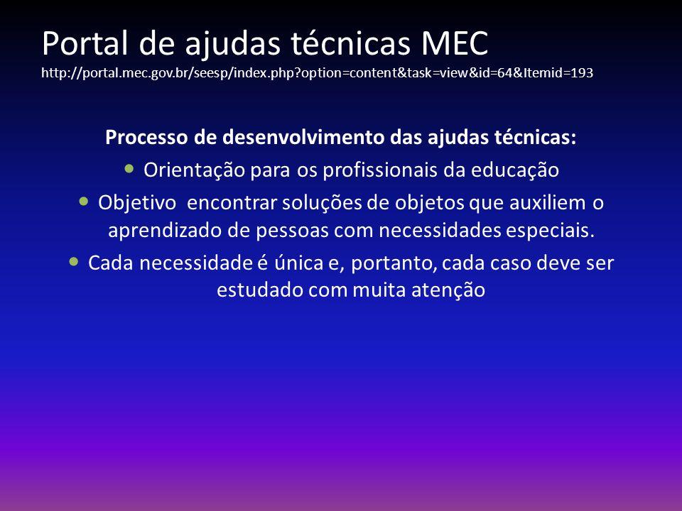 Portal de ajudas técnicas MEC http://portal.mec.gov.br/seesp/index.php?option=content&task=view&id=64&Itemid=193 Processo de desenvolvimento das ajuda
