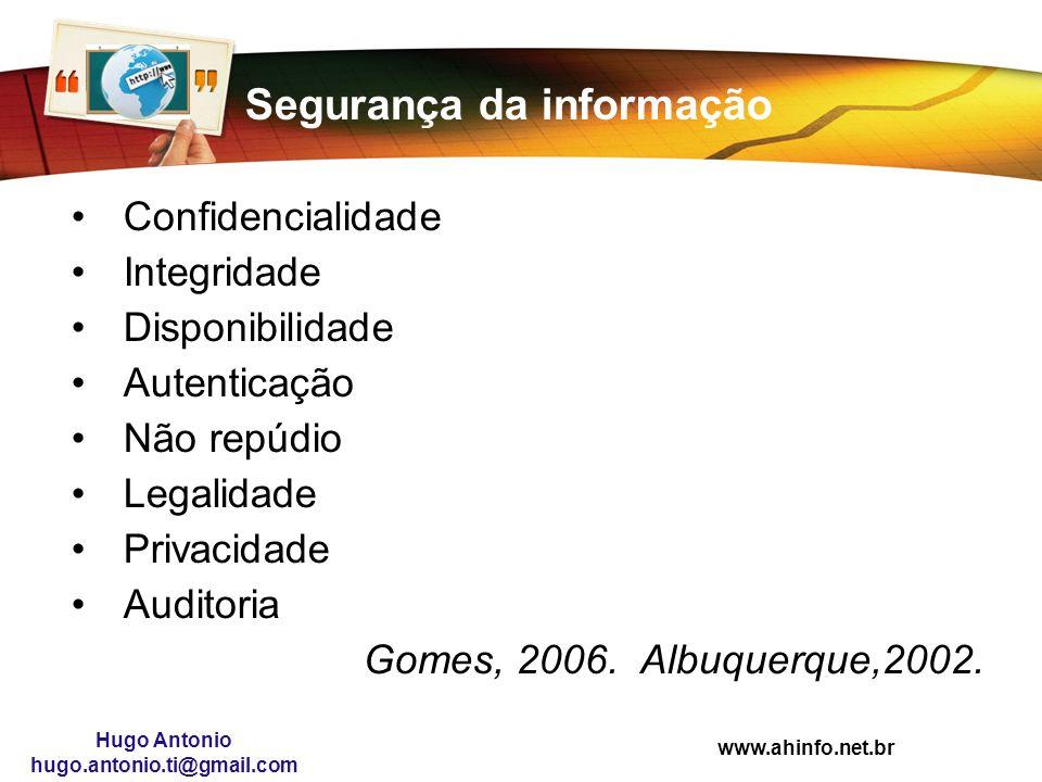 www.ahinfo.net.br Hugo Antonio hugo.antonio.ti@gmail.com Segurança da informação Confidencialidade Integridade Disponibilidade Autenticação Não repúdi