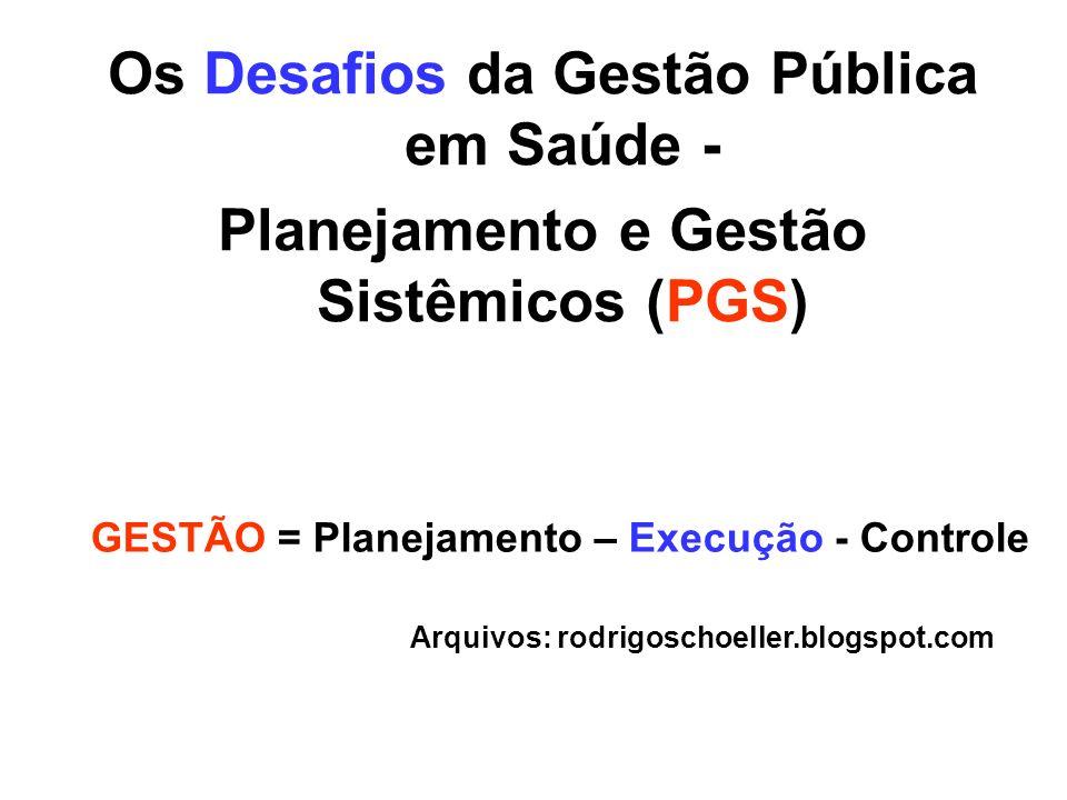 Os Desafios da Gestão Pública em Saúde - Planejamento e Gestão Sistêmicos (PGS) GESTÃO = Planejamento – Execução - Controle Arquivos: rodrigoschoeller