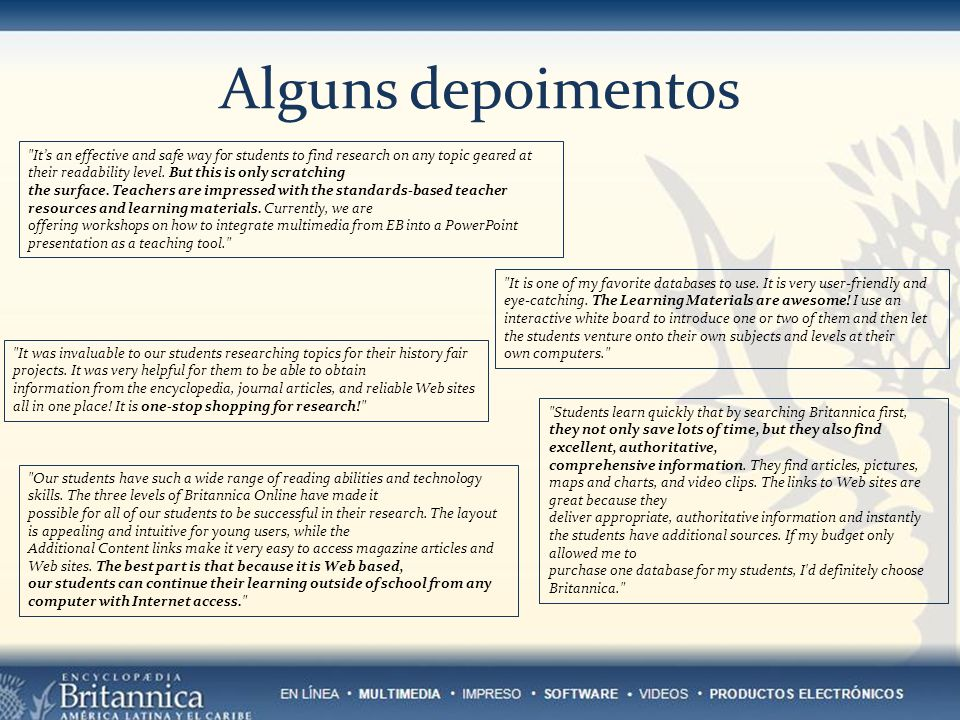 Alguns depoimentos Its an effective and safe way for students to find research on any topic geared at their readability level.
