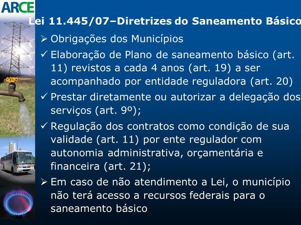Lei 11.445/07–Diretrizes do Saneamento Básico Obrigações dos Municípios Elaboração de Plano de saneamento básico (art. 11) revistos a cada 4 anos (art