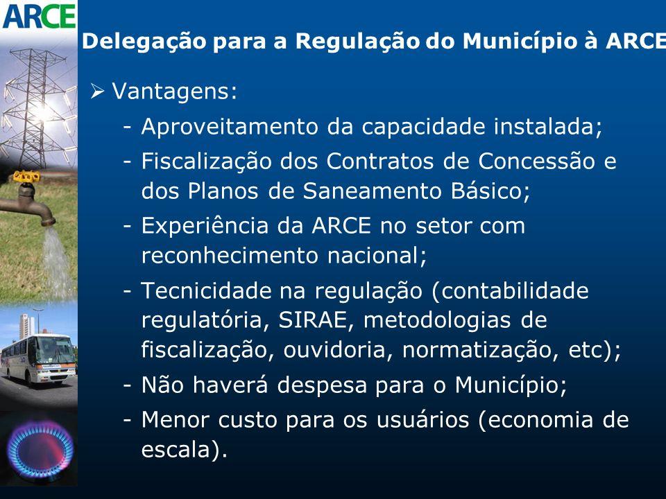 Delegação para a Regulação do Município à ARCE Vantagens: -Aproveitamento da capacidade instalada; -Fiscalização dos Contratos de Concessão e dos Plan