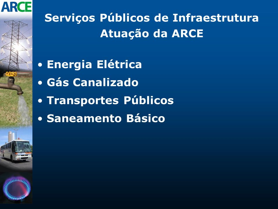 Serviços Públicos de Infraestrutura Atuação da ARCE Energia Elétrica Gás Canalizado Transportes Públicos Saneamento Básico
