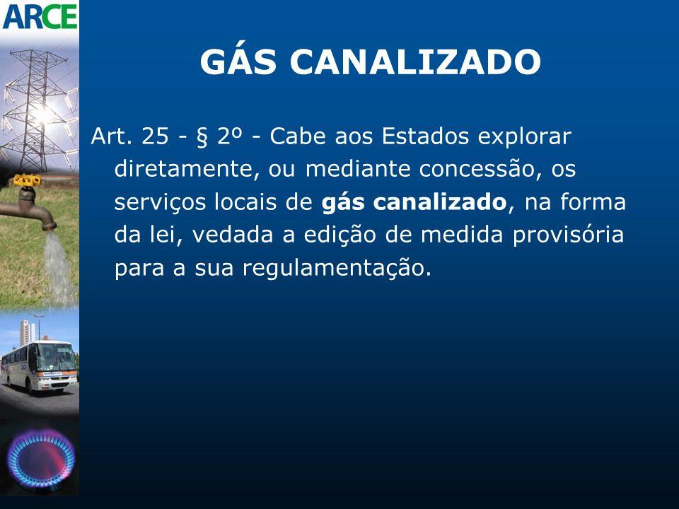GÁS CANALIZADO Art. 25 - § 2º - Cabe aos Estados explorar diretamente, ou mediante concessão, os serviços locais de gás canalizado, na forma da lei, v