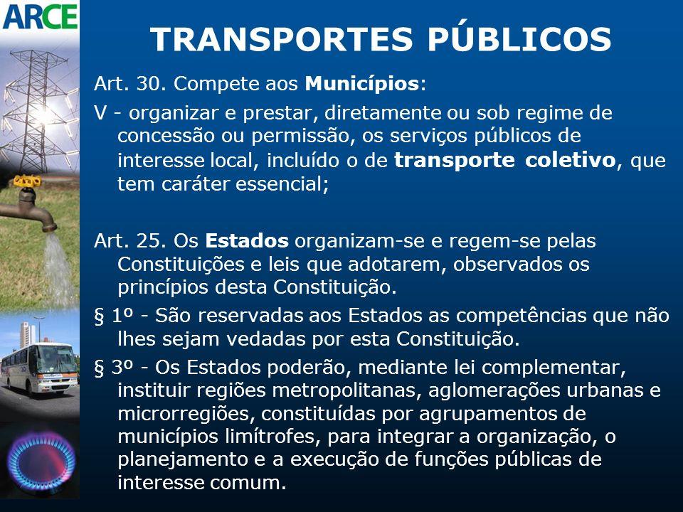TRANSPORTES PÚBLICOS Art. 30. Compete aos Municípios: V - organizar e prestar, diretamente ou sob regime de concessão ou permissão, os serviços públic