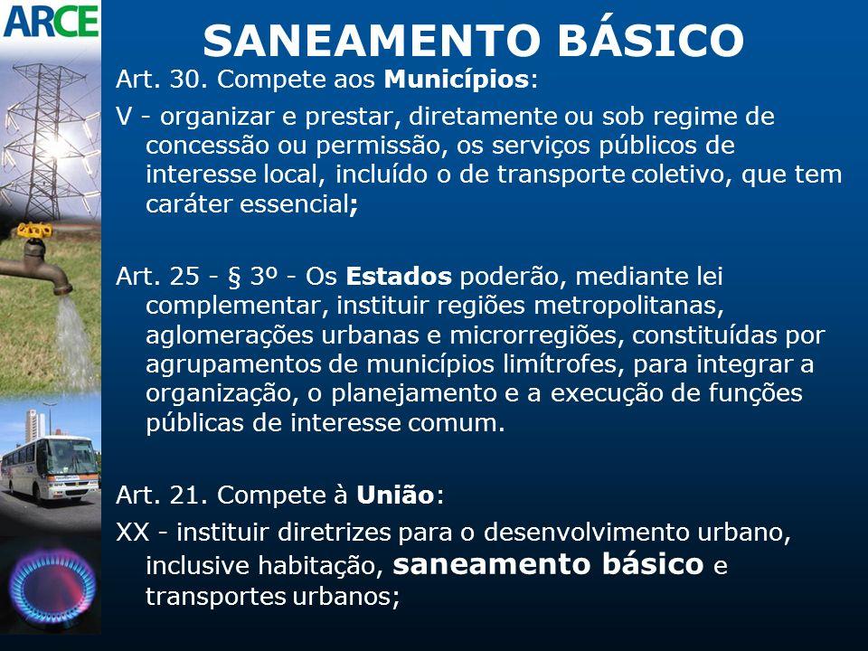 SANEAMENTO BÁSICO Art. 30. Compete aos Municípios: V - organizar e prestar, diretamente ou sob regime de concessão ou permissão, os serviços públicos