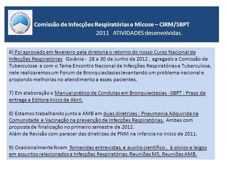 Comissão de Infecções Respiratórias e Micose – CIRM/SBPT 2011 ATIVIDADES desenvolvidas. 6) Foi aprovado em fevereiro pela diretoria o retorno do nosso