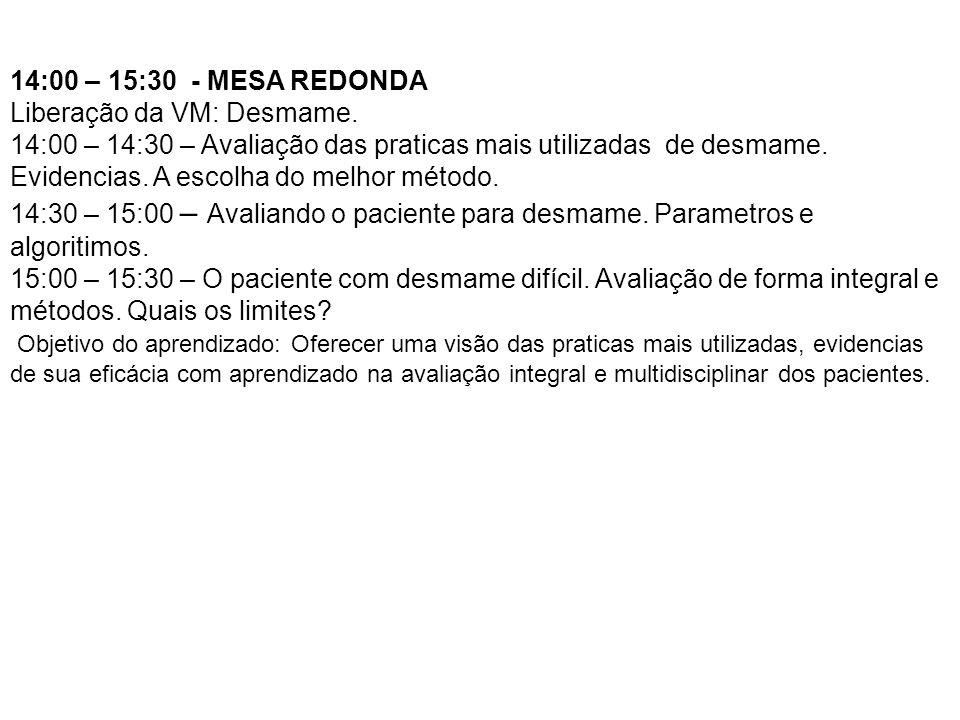 14:00 – 15:30 - MESA REDONDA Liberação da VM: Desmame. 14:00 – 14:30 – Avaliação das praticas mais utilizadas de desmame. Evidencias. A escolha do mel